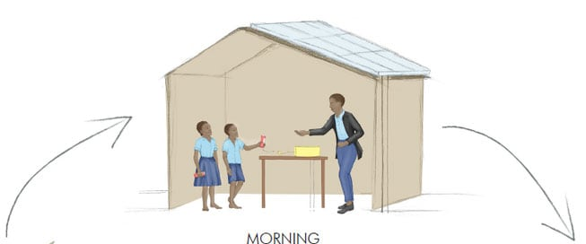 Children at school in Africa in the morning with light solar energy