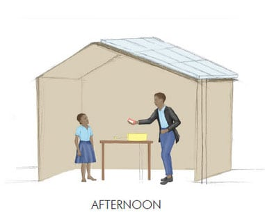Children at school in Africa in the afternoon with light solar energy